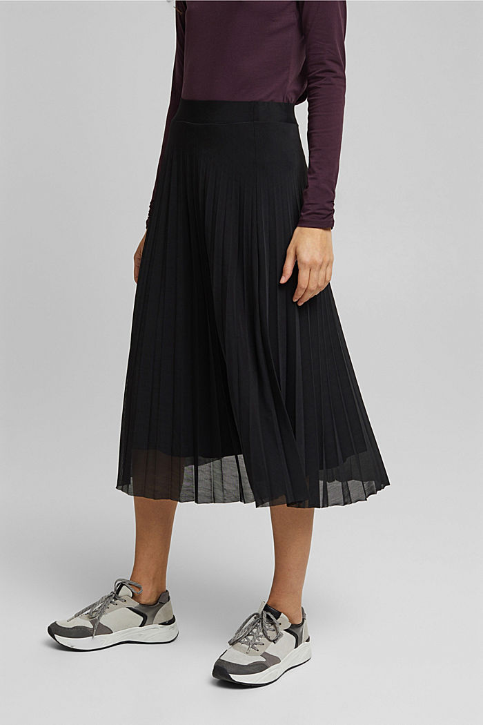 Recycled: Plissé skirt with elasticated waistband, BLACK, detail image number 0