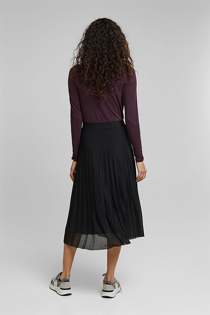 Recycled: Plissé skirt with elasticated waistband, BLACK, detail image number 3
