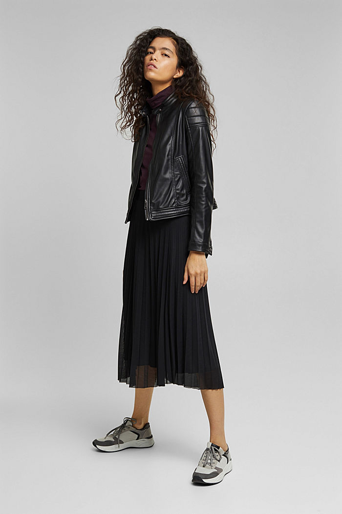 Recycled: Plissé skirt with elasticated waistband, BLACK, detail image number 5