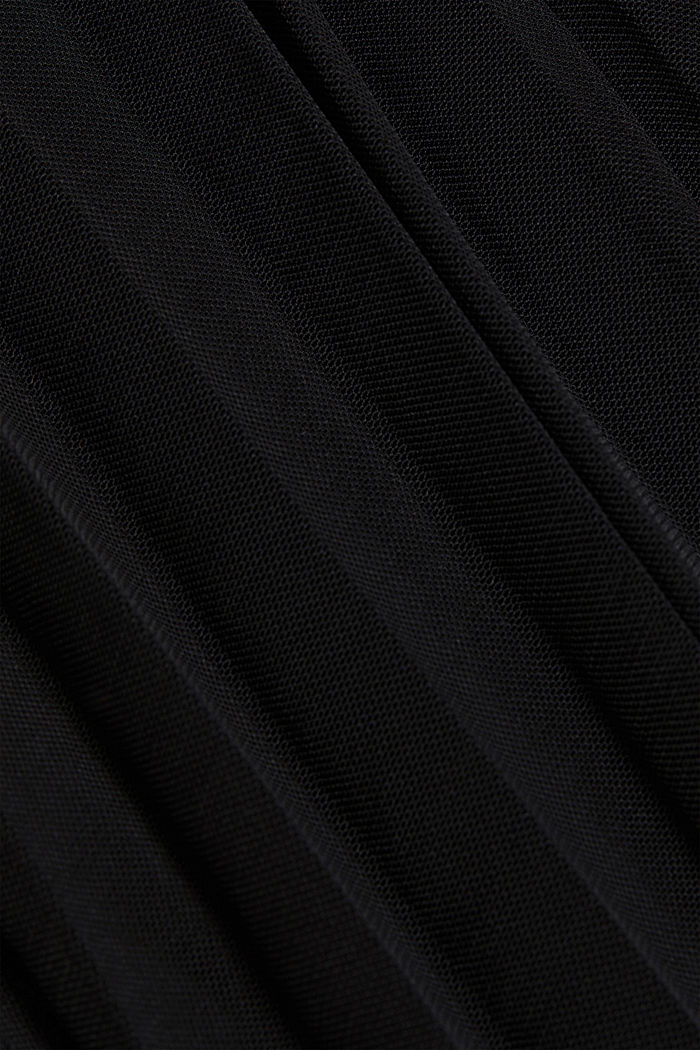 Recycled: Plissé skirt with elasticated waistband, BLACK, detail image number 4