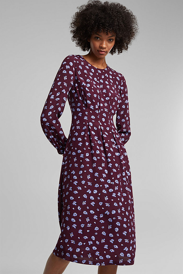 Print dress made of LENZING™ ECOVERO™, AUBERGINE, detail image number 0