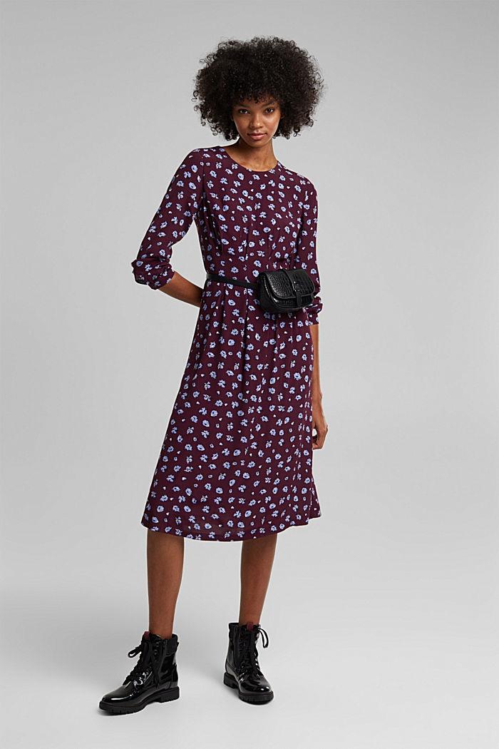 Print dress made of LENZING™ ECOVERO™, AUBERGINE, detail image number 1
