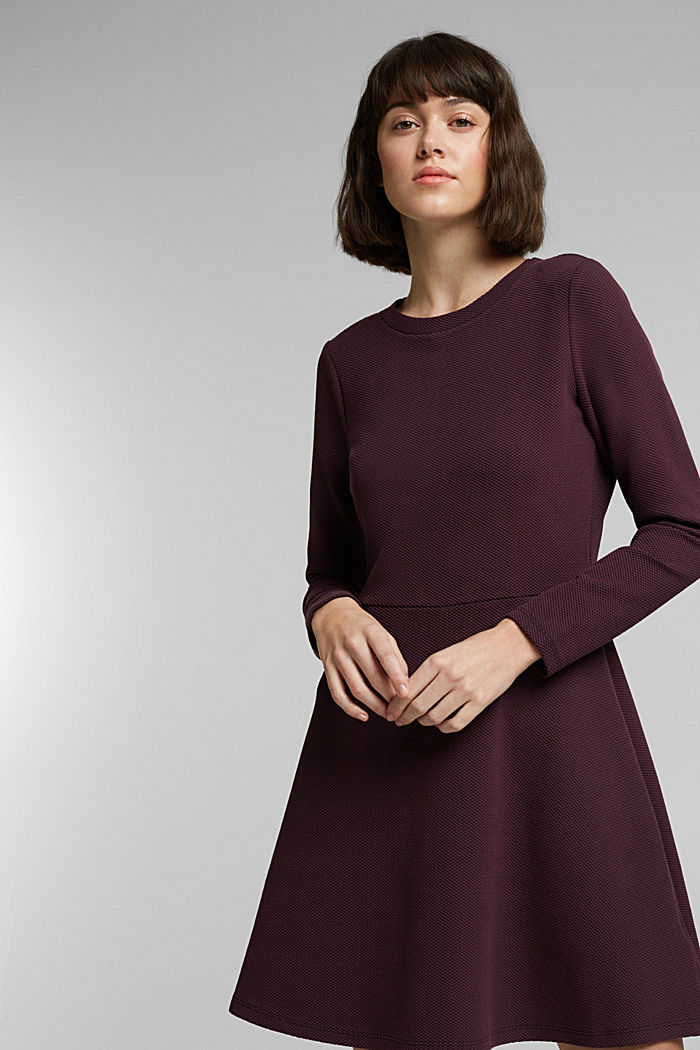 Jersey dress with organic cotton, AUBERGINE, detail image number 0