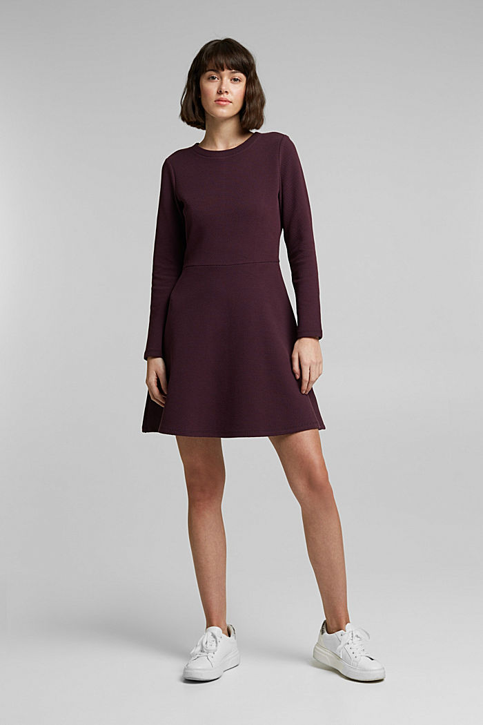 Jersey dress with organic cotton, AUBERGINE, detail image number 1