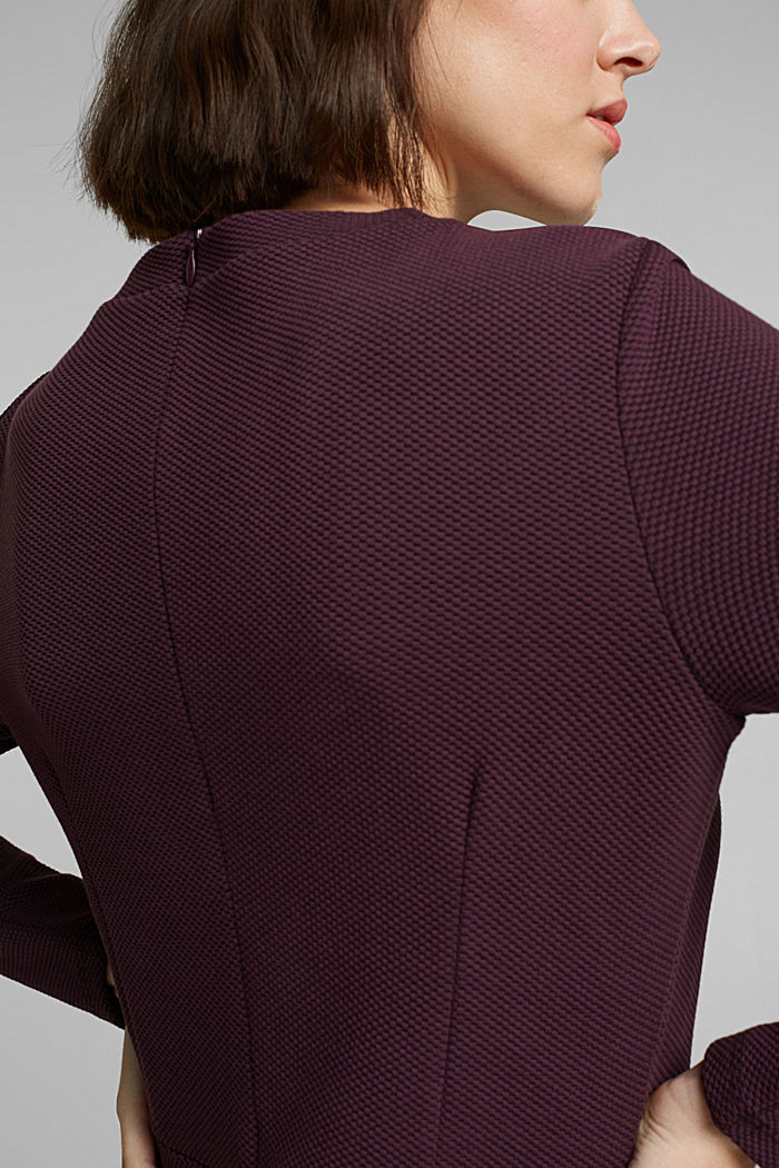 Jersey dress with organic cotton, AUBERGINE, detail image number 3