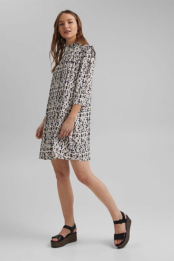 Dress with frills and a leopard print, OFF WHITE, detail image number 0
