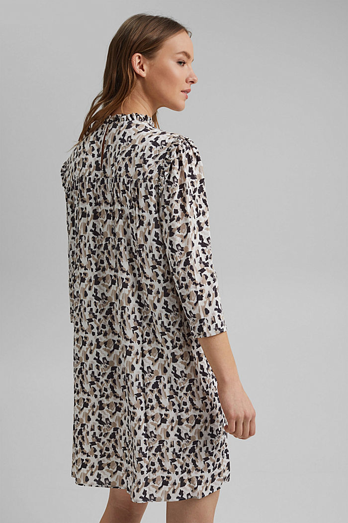 Dress with frills and a leopard print, OFF WHITE, detail image number 2