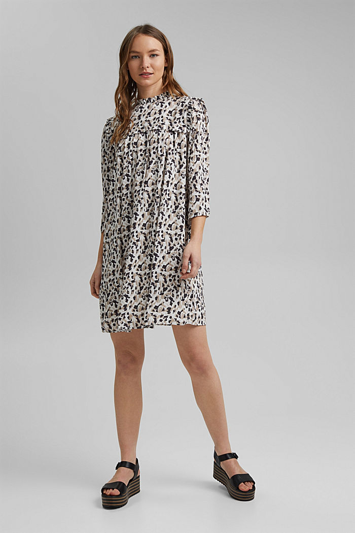 Dress with frills and a leopard print, OFF WHITE, detail image number 1
