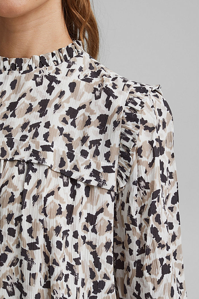 Dress with frills and a leopard print, OFF WHITE, detail image number 3
