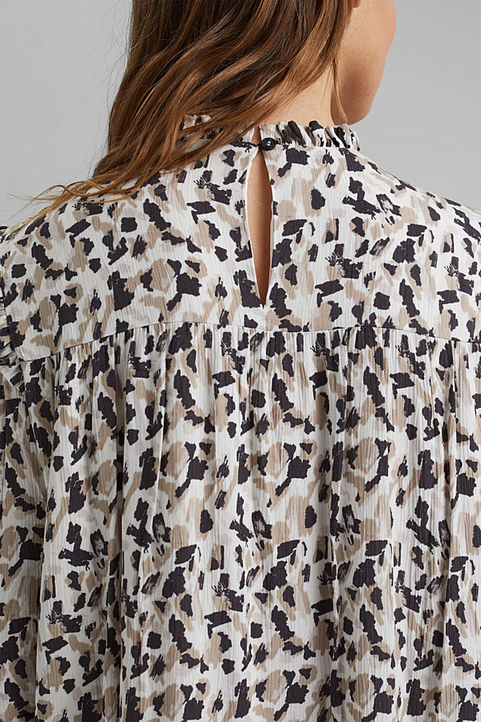 Dress with frills and a leopard print, OFF WHITE, detail image number 4