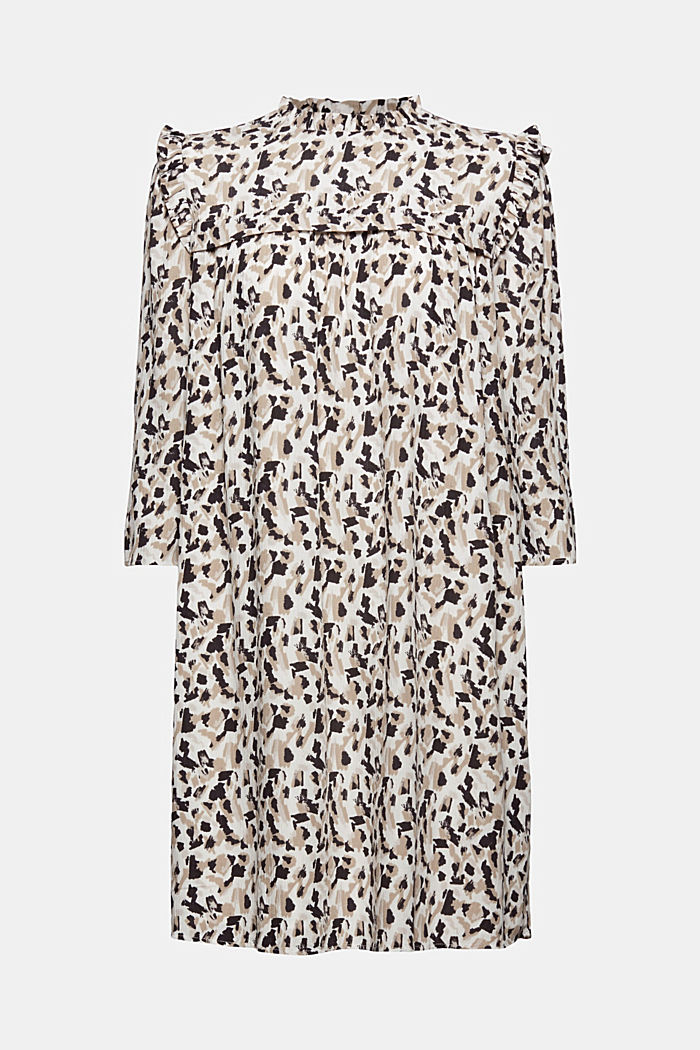 Dress with frills and a leopard print, OFF WHITE, detail image number 9