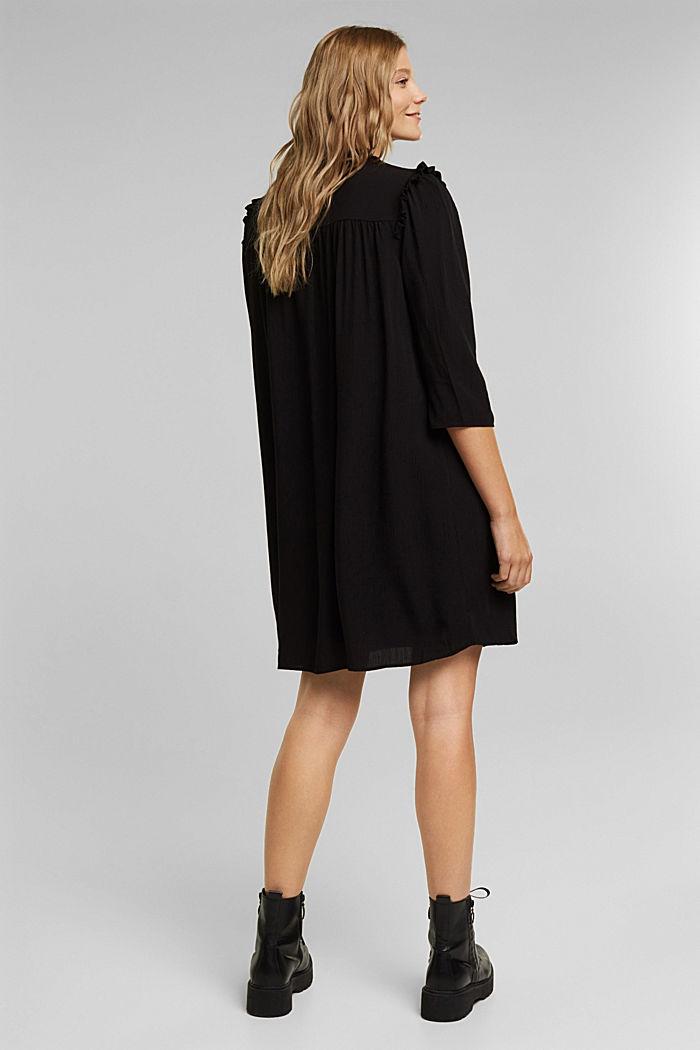 Frilled dress made of 100% viscose, BLACK, detail image number 2
