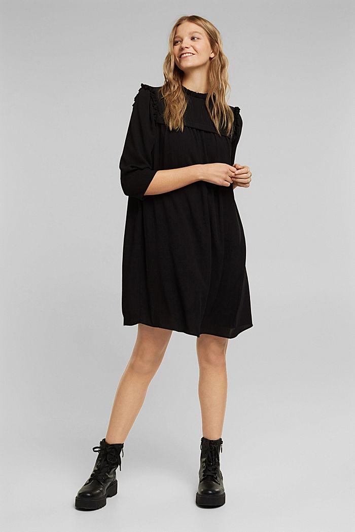 Frilled dress made of 100% viscose, BLACK, detail image number 1