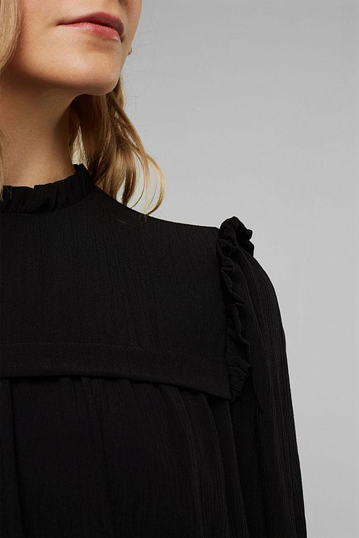 Frilled dress made of 100% viscose, BLACK, detail image number 3