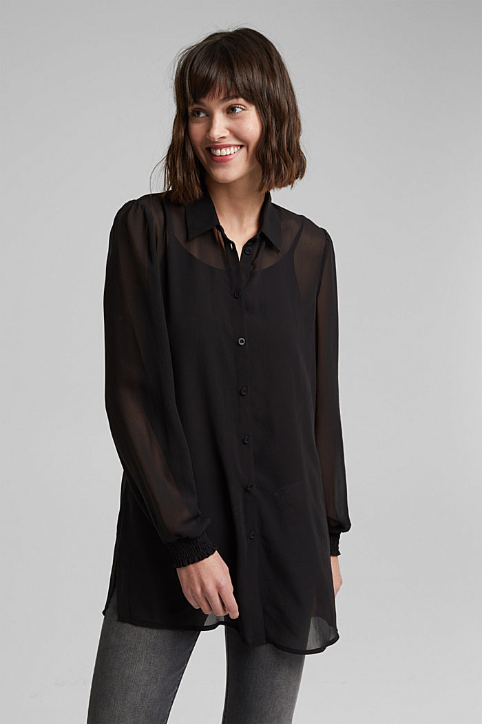 Recycled: chiffon blouse with smocked details, BLACK, overview