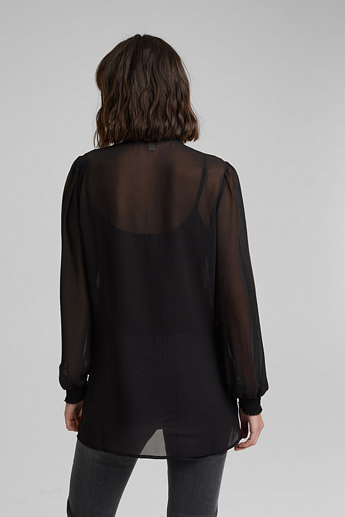 Recycled: chiffon blouse with smocked details, BLACK, detail image number 3