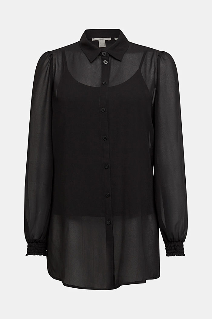 Recycled: chiffon blouse with smocked details, BLACK, detail image number 5