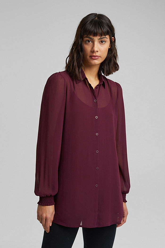 Recycled: chiffon blouse with smocked details, AUBERGINE, overview