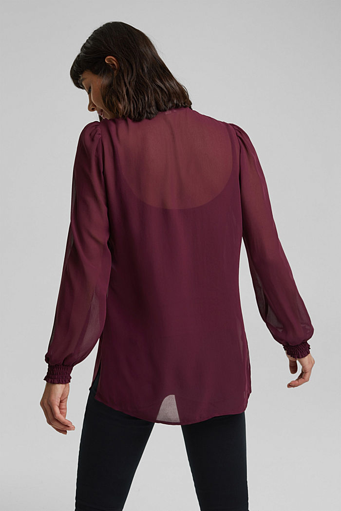 Recycled: chiffon blouse with smocked details, AUBERGINE, detail image number 3