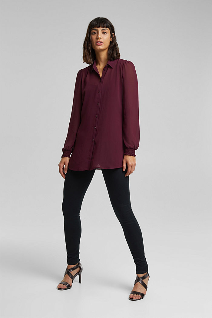 Recycled: chiffon blouse with smocked details, AUBERGINE, detail image number 5