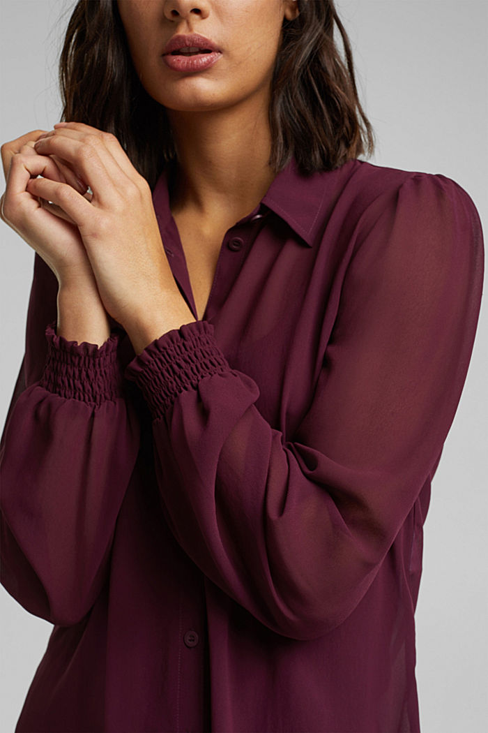 Recycled: chiffon blouse with smocked details, AUBERGINE, detail image number 2