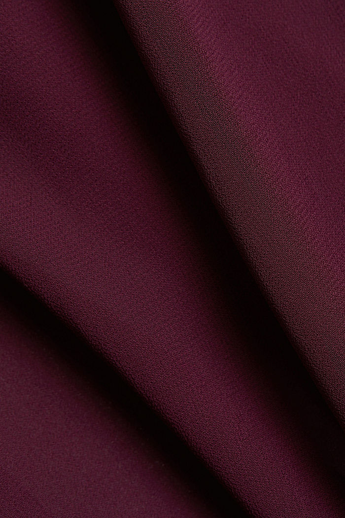 Recycled: chiffon blouse with smocked details, AUBERGINE, detail image number 4