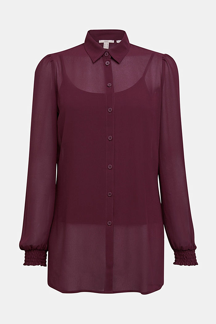 Recycled: chiffon blouse with smocked details, AUBERGINE, detail image number 6