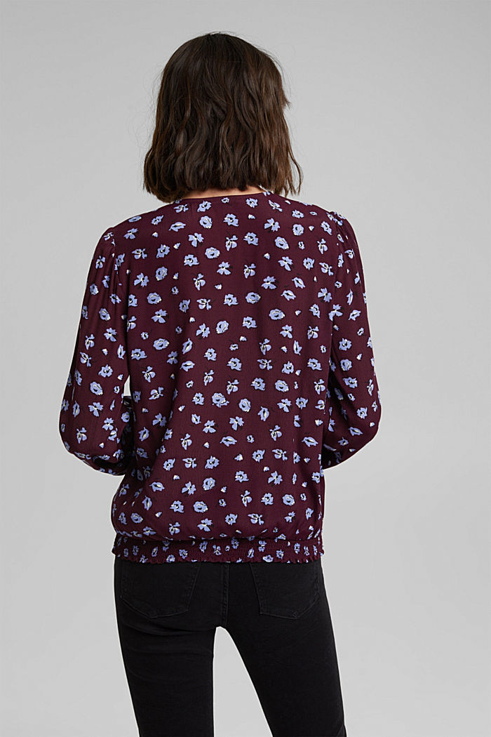 Print blouse with LENZING™ ECOVERO™, AUBERGINE, detail image number 3