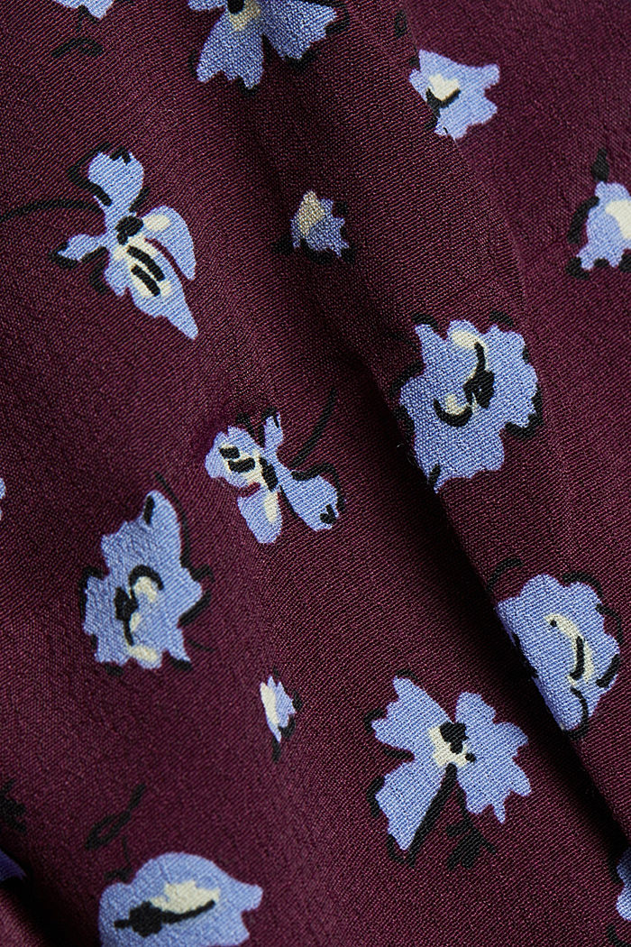 Print blouse with LENZING™ ECOVERO™, AUBERGINE, detail image number 4