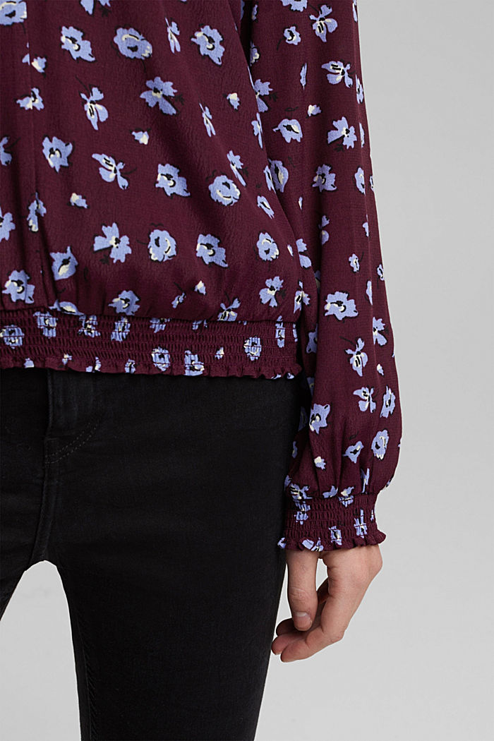 Print blouse with LENZING™ ECOVERO™, AUBERGINE, detail image number 5