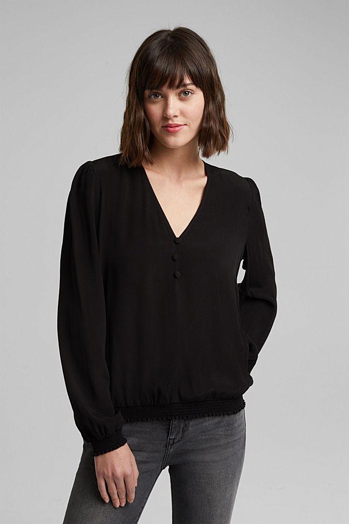 Bluse aus LENZING™ ECOVERO™, BLACK, detail image number 0