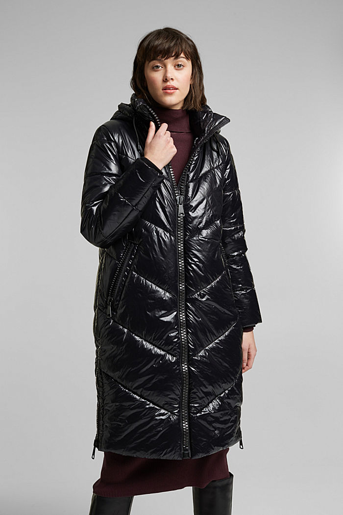 Recycled: shiny quilted coat with a hood