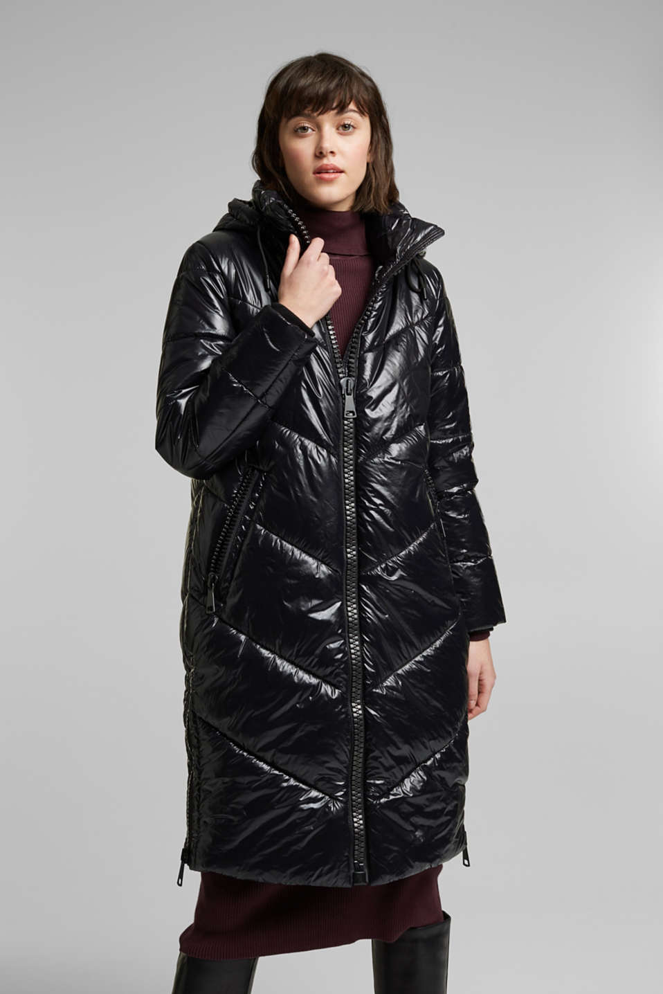 edc - Recycled: shiny quilted coat with a hood