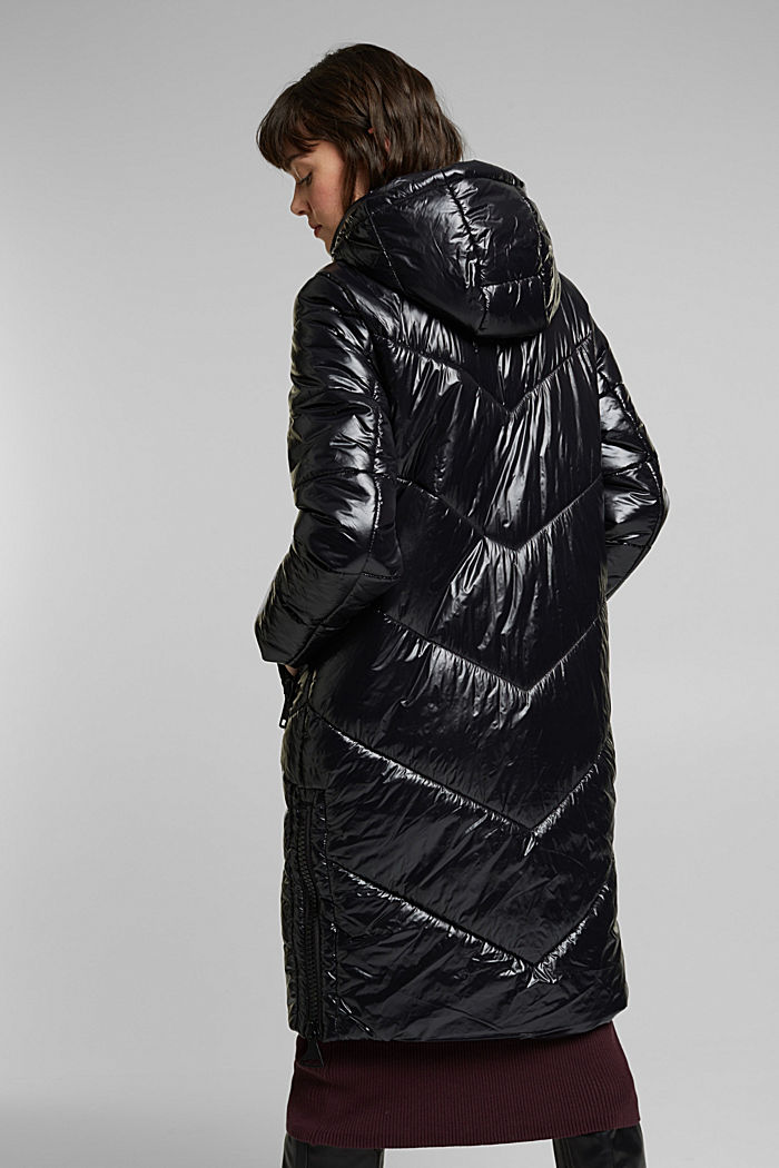 Recycled: shiny quilted coat with a hood, BLACK, detail image number 3