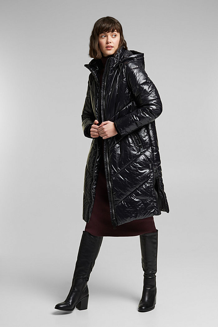 Recycled: shiny quilted coat with a hood, BLACK, detail image number 1