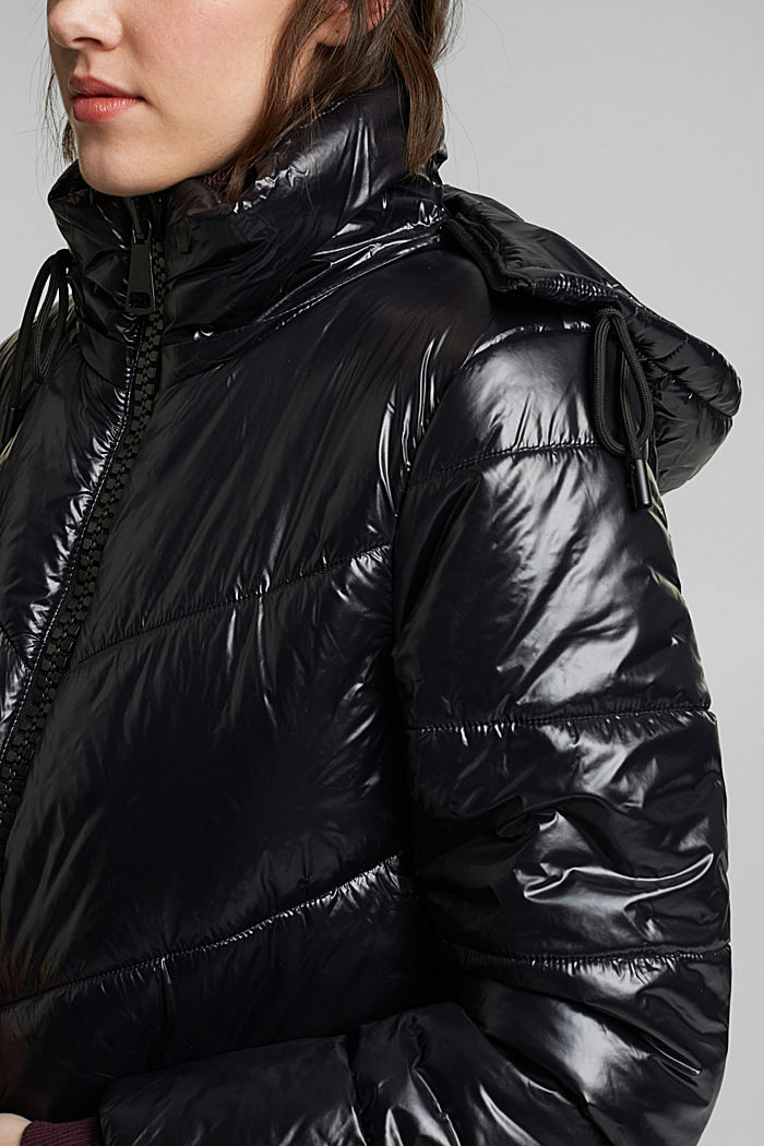 Recycled: shiny quilted coat with a hood, BLACK, detail image number 2