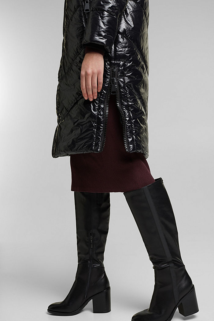 Recycled: shiny quilted coat with a hood, BLACK, detail image number 5
