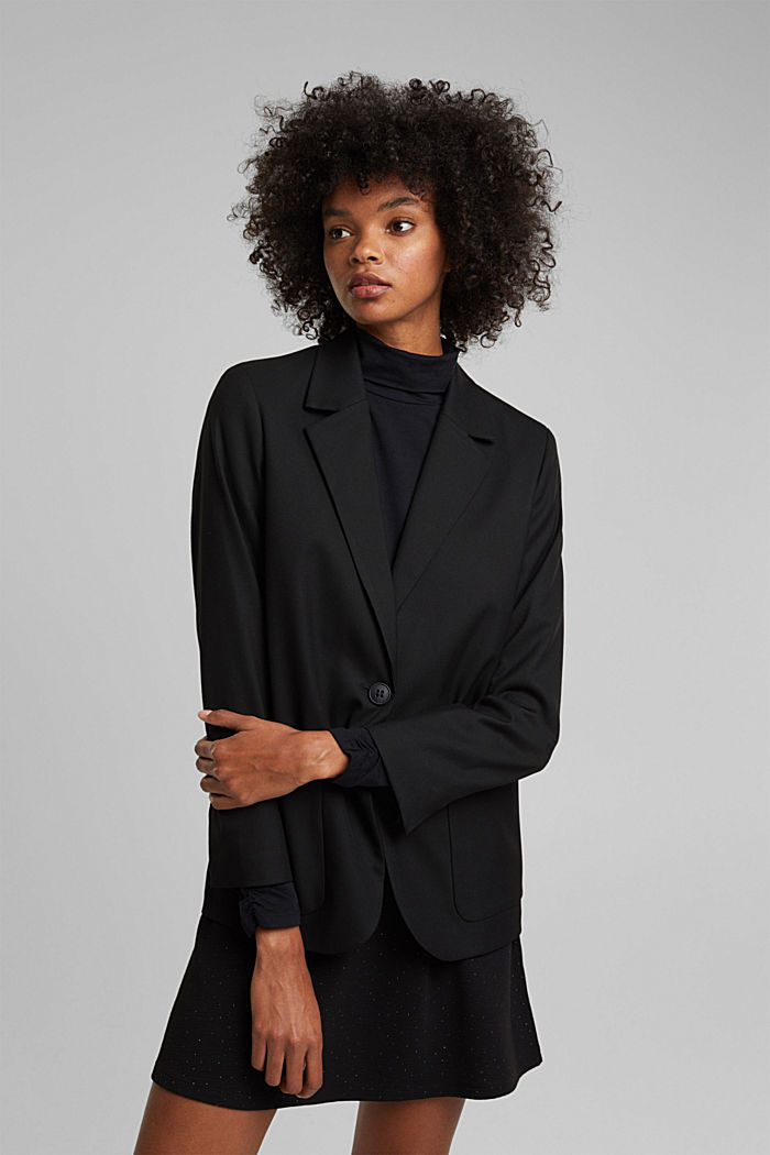 Oversized blazer with stretch for comfort, BLACK, detail image number 0