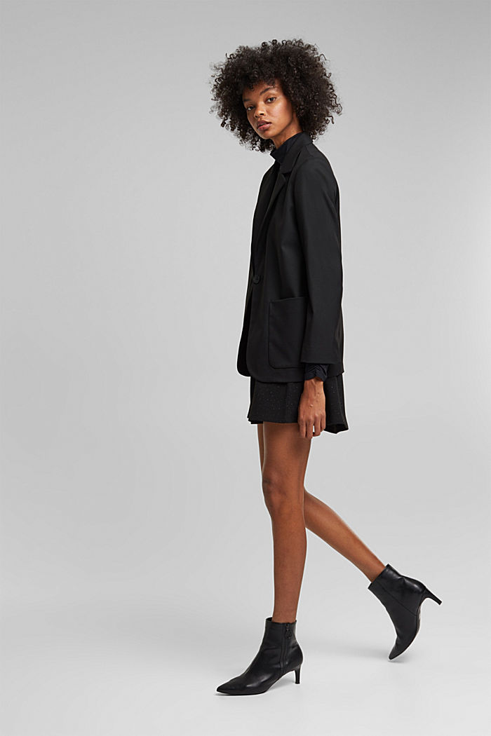 Oversized blazer with stretch for comfort, BLACK, detail image number 1
