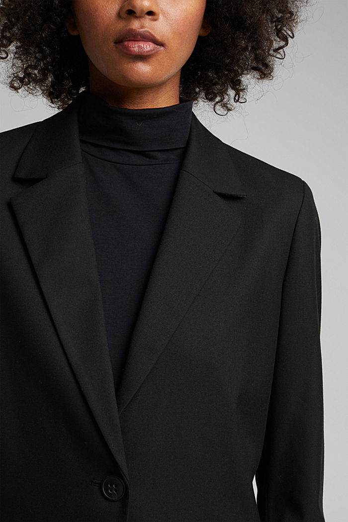 Oversized blazer with stretch for comfort, BLACK, detail image number 2