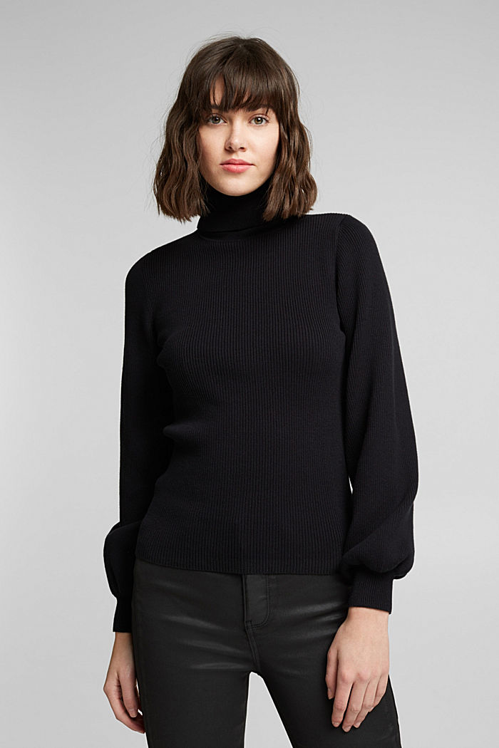 Rollkragen-Pullover mit Organic Cotton, BLACK, overview