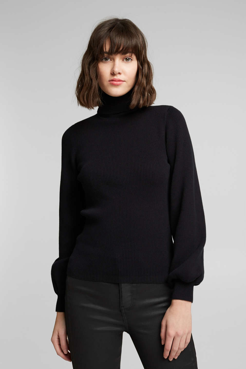 edc - Polo neck jumper with organic cotton