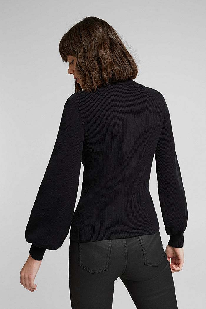 Polo neck jumper with organic cotton, BLACK, detail image number 3