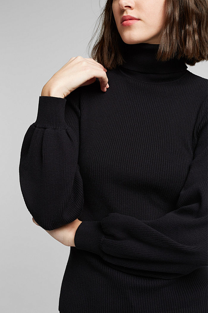 Polo neck jumper with organic cotton, BLACK, detail image number 2