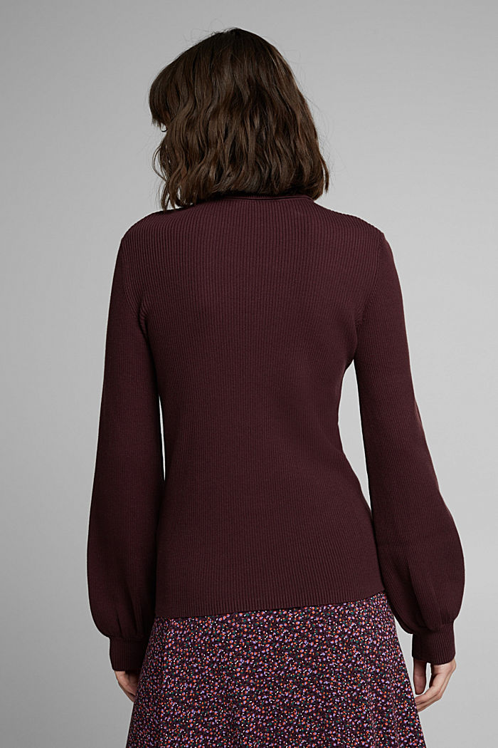 Polo neck jumper with organic cotton, AUBERGINE, detail image number 3