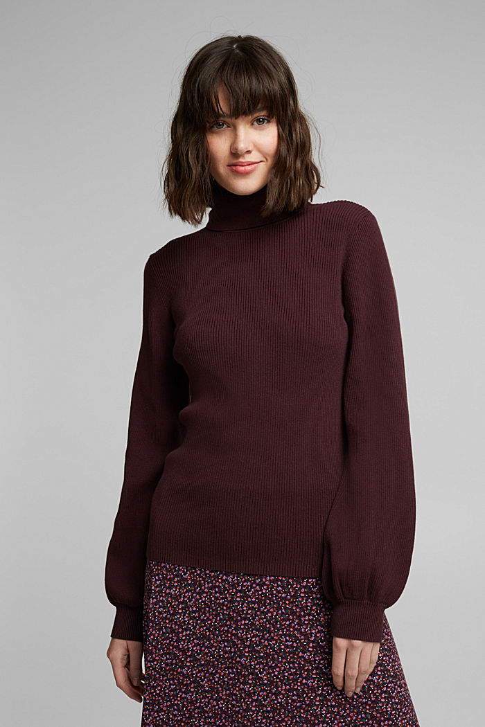 Polo neck jumper with organic cotton, AUBERGINE, detail image number 5