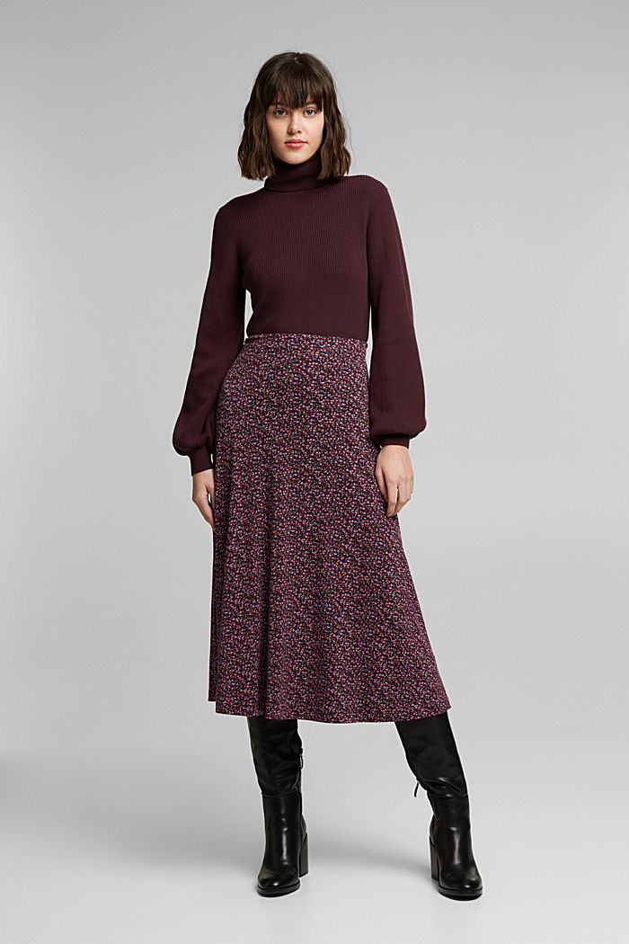 Polo neck jumper with organic cotton, AUBERGINE, detail image number 6