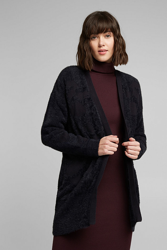 Jacquard cardigan with organic cotton, BLACK, overview