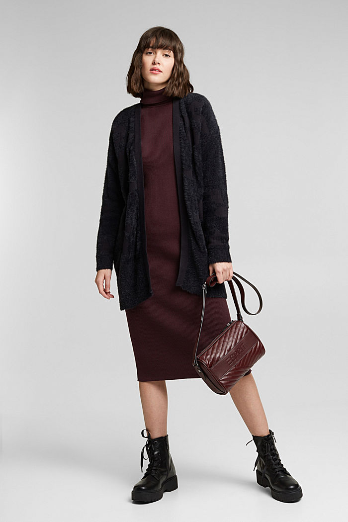 Jacquard cardigan with organic cotton, BLACK, detail image number 1