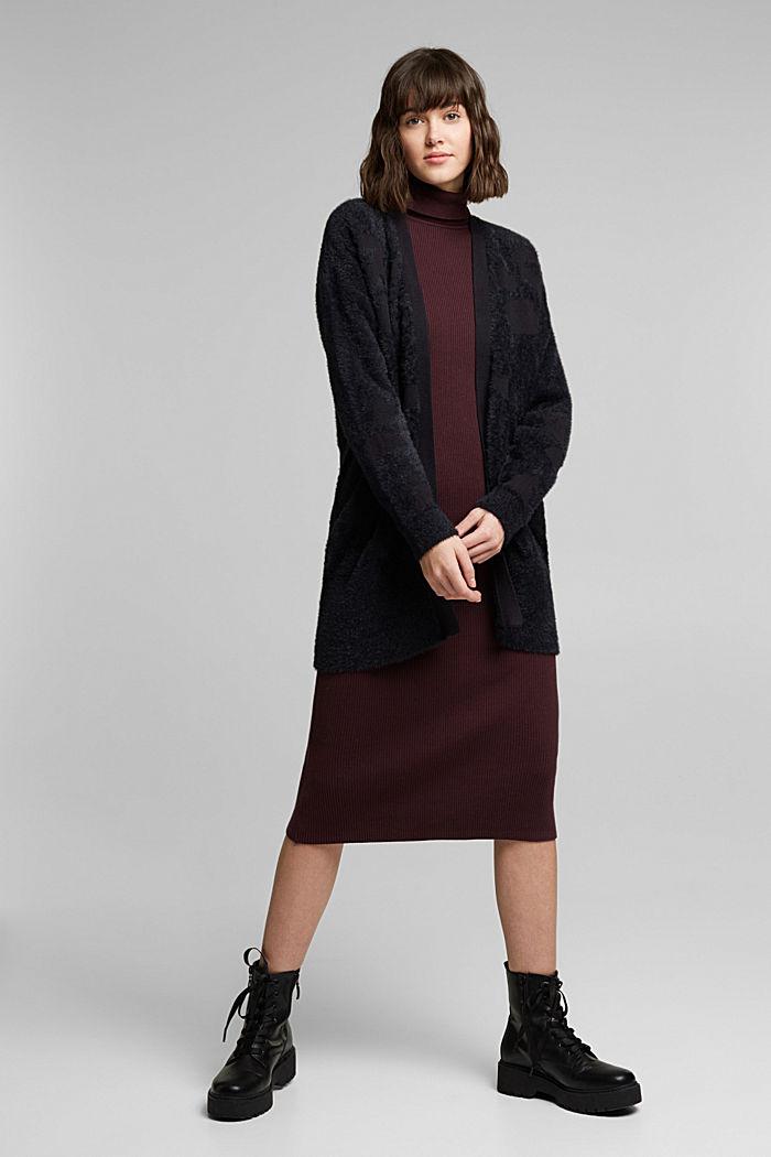 Jacquard cardigan with organic cotton, BLACK, detail image number 5